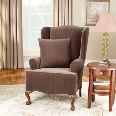 Sure Fit® Stretch Pinstripe Wing Chair Slipcover in Taupe