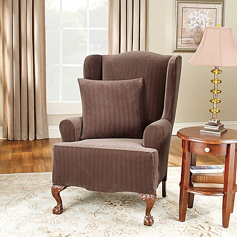 Sure Fit® Stretch Pinstripe Wing Chair Slipcover