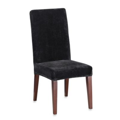 Sure Fit® Stretch Plush Short Dining Room Chair Cover in Black