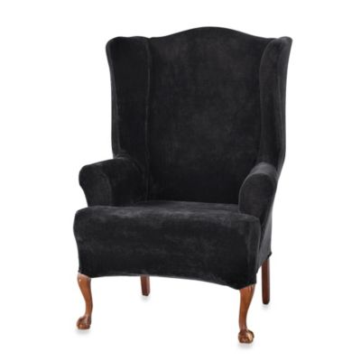 Sure Fit® Stretch Plush Wing Chair Slipcover