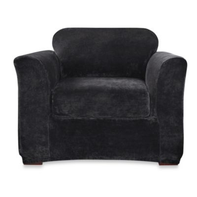 Sure Fit® Stretch Plush 2-Piece Chair Slipcover in Sable