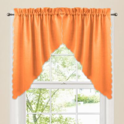 Victoria Window Curtain Swag Valance Pair in Orange