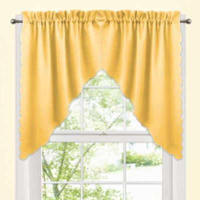 Victoria Window Curtain Swag Valance Pair in Yellow