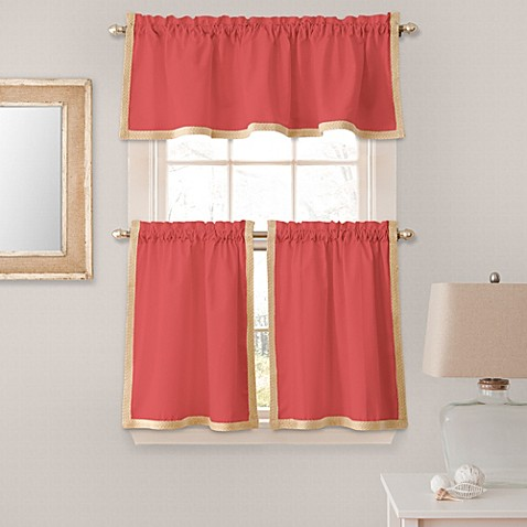 Seaview Window Curtain Valance in Coral