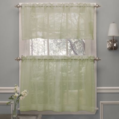 Crushed Voile 24-Inch Window Curtain Tier Pairs in Spring Green
