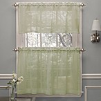 Crushed Voile Window Curtain Tier Pairs and Valance in Spring Green