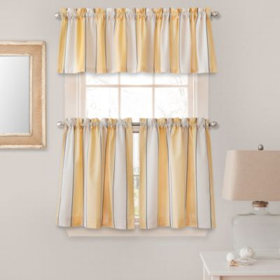 Lauren Stripe Window Curtain Tier Pairs in Yellow