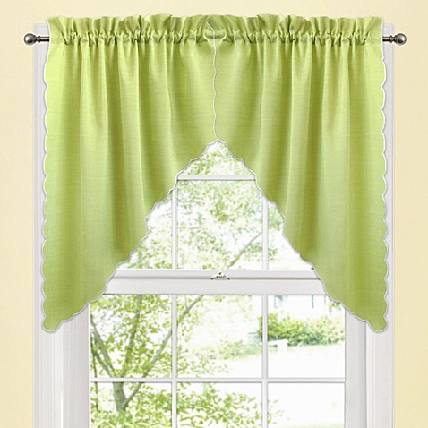 Victoria Window Curtain Swag Valance Pair in Green