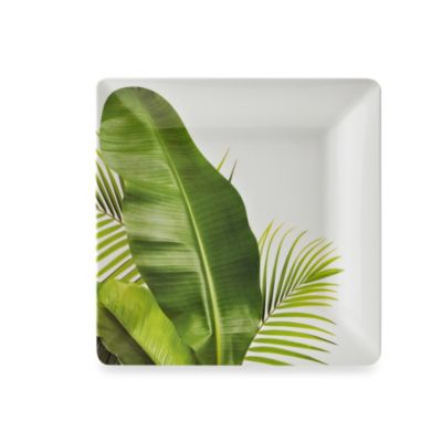 Poolside Palms 10.7-Inch Melamine Square Dinner Plate