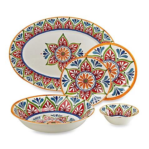 Mirasol Hand Painted Cream Round Melamine Dinnerware