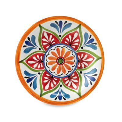 Mirasol Hand Painted Cream 10.5-Inch Round Dinner Plate