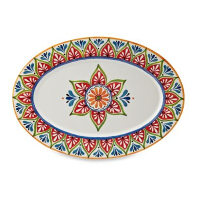 Mirasol Hand Painted Cream 20-Inch Round Serving Platter