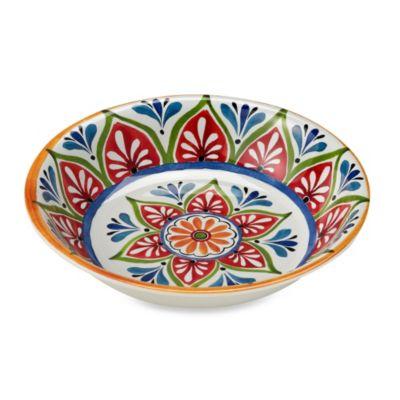 Mirasol Hand Painted Cream Round Serving Bowl