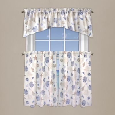 Seashore Coral 24-Inch Window Curtain Tier Pair in Blue