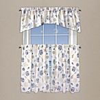 Seashore Coral Window Curtain Tier Pairs and Valance in Blue