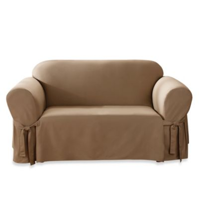 Duck Supreme Cotton Loveseat Slipcover in Cocoa