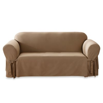 Sure Fit® Duck Supreme Cotton Sofa Slipcover in Cocoa
