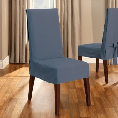 Sure Fit® Duck Supreme Cotton Short Dining Room Chair Slipcover in Bluestone