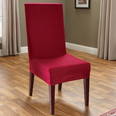 Sure Fit® Duck Supreme Cotton Short Dining Room Chair Slipcover in Claret