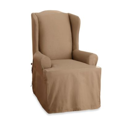 Sure Fit® Duck Supreme Cotton Wing Chair Slipcover in Warm Chocolate