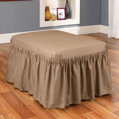 Sure Fit® Cotton Duck Ottoman Cover in Cocoa
