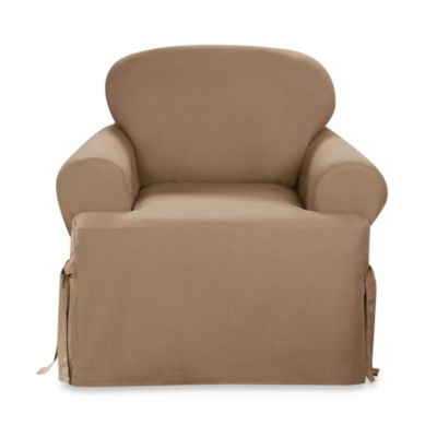 Sure Fit® Duck Supreme Cotton T-Cushion Chair Cover in Cocoa
