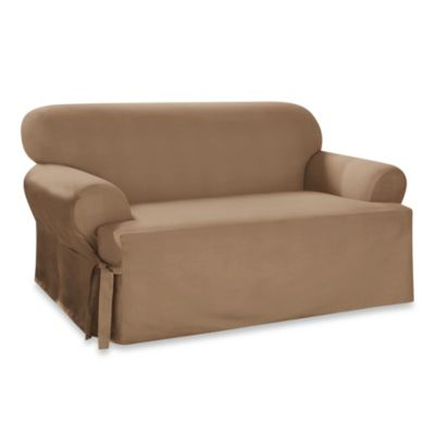 Sure Fit® Cotton Duck T-Cushion Loveseat Slipcover