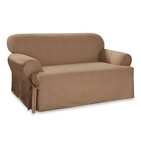 Sure Fit Duck Supreme Cotton T Cushion Loveseat Slipcover: loveseat t cushion slipcovers