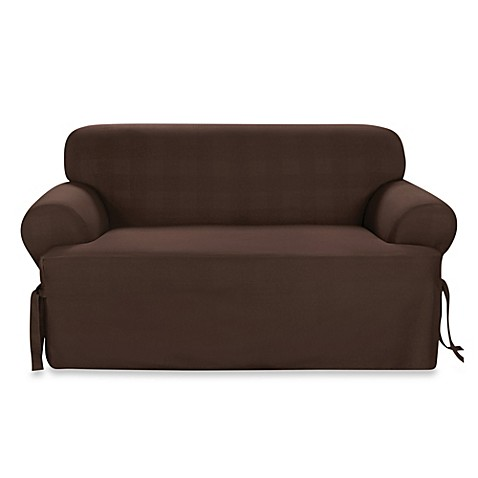 Buy Sure Fit Duck Supreme Cotton T Cushion Loveseat Slipcover In Warm Chocolate From Bed Bath