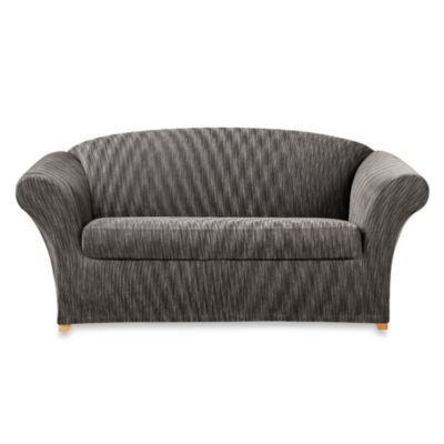 Sure Fit® Space-Dyed Stretch Pique 2-Piece Loveseat Slipcover in Grey