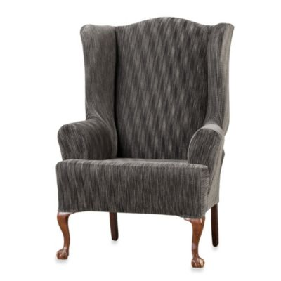 Sure Fit® Space-Dyed Stretch Pique Wing Chair Slipcover in Chocolate