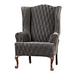 Sure Fit® Space-Dyed Stretch Pique Wing Chair Slipcover