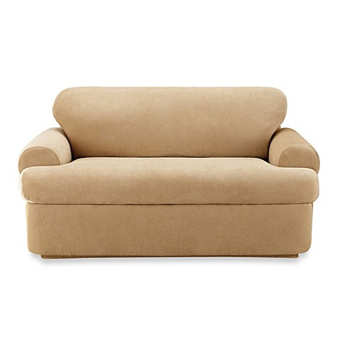 Sure fit stretch pique two piece loveseat slipcover bed bath beyond Loveseat stretch slipcovers