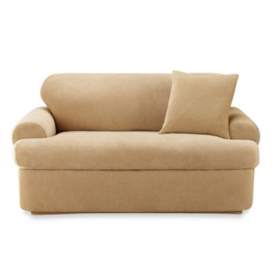 Sure Fit® Stretch Pique 2-Piece T-Cushion Sofa Slipcover in Cream