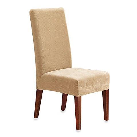 stretch pique short dining room chair slipcover from bed bath beyond