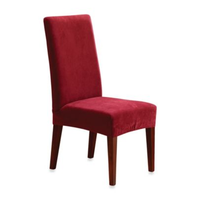 Sure Fit® Stretch Pique Short Dining Room Chair Slipcover in Garnet