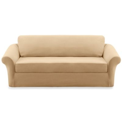 Sure Fit® Stretch Pique 3-Piece Loveseat Slipcover in Cream