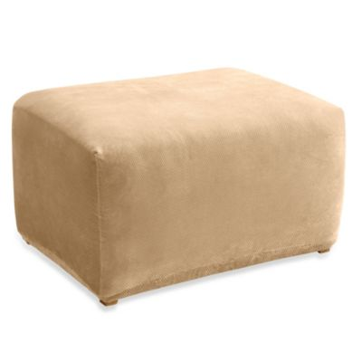 Sure Fit® Stretch Pique Ottoman Slipcover in Cream