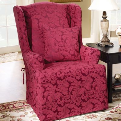 Sure Fit® Scroll Wing Chair Slipcover in Burgundy