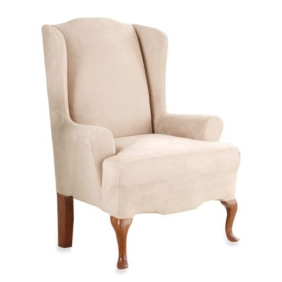 Sure Fit® Stretch Suede Wing Chair Cover in Taupe