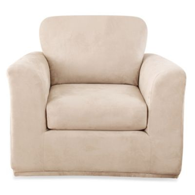 Sure Fit® Stretch Suede 3-Piece Chair Slipcover