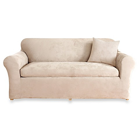 Sure Fit 174 Stretch Suede 3 Piece Loveseat Cover Bed Bath
