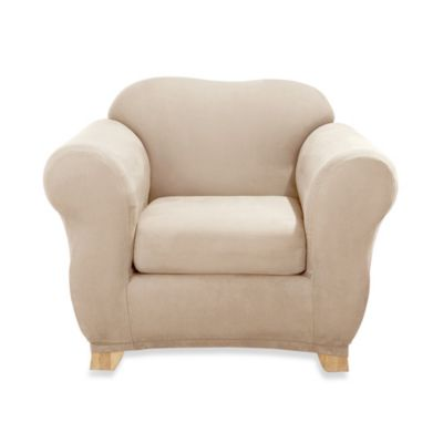 Sure Fit® Two-Piece Stretch Suede Chair Slipcover
