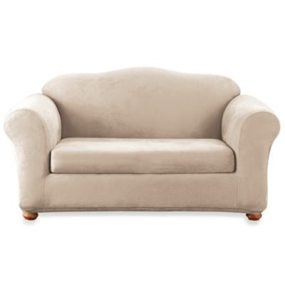 Sure Fit® Stretch Suede 2-Piece Loveseat Cover in Taupe
