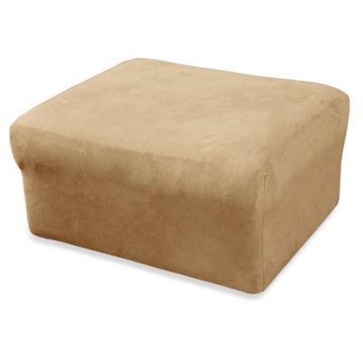 Sure Fit® Stretch Suede Ottoman Cover in Burgundy