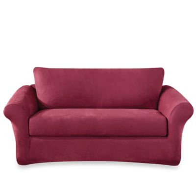 Sure Fit® Stretch Suede 3-Piece Sofa Cover in Burgundy