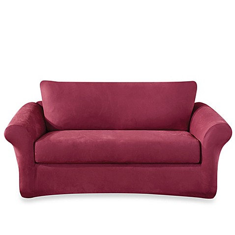 Buy Sure Fit Stretch Suede 3 Piece Sofa Cover in Burgundy