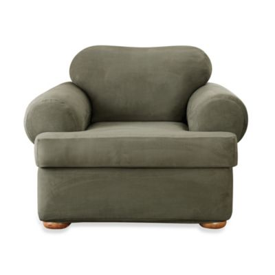 Sure Fit® Stretch Suede 2-Piece T-Cushion Chair Cover in Dark Green