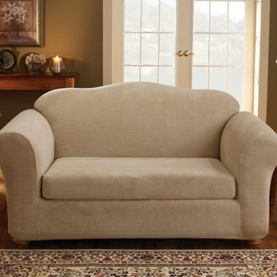 Sure Fit® Stretch Royal Diamond 2-Piece Loveseat Slipcover in Cream
