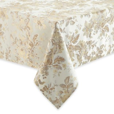 Waterford® Linens Marcelle 70-Inch x 126-Inch Oblong Tablecloth in Ivory